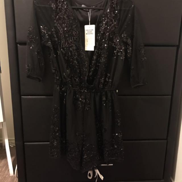 Black Sparkly Playsuit