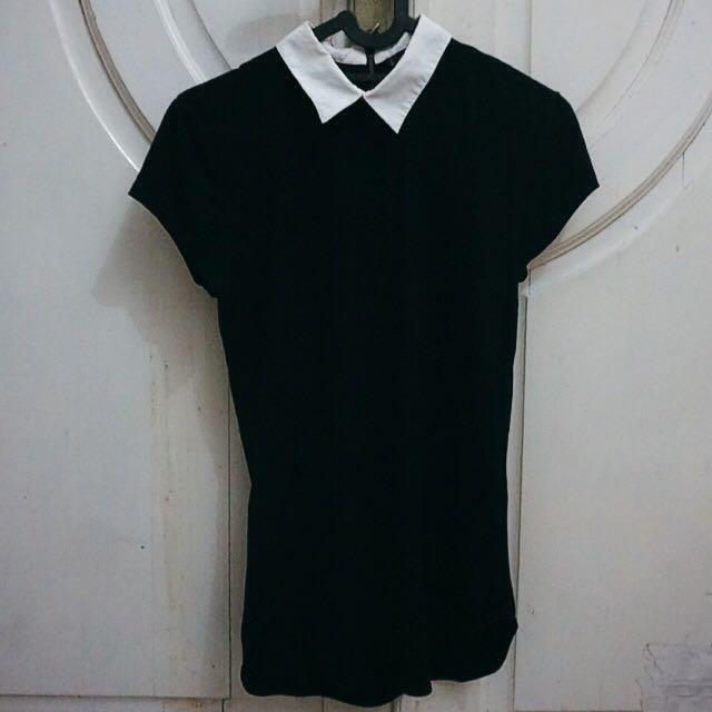 Black-and-white Collar Shirt