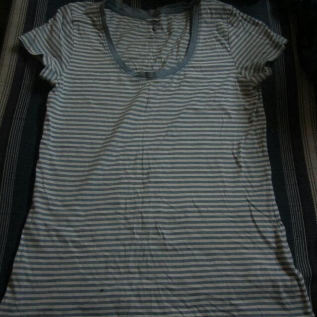 Blue and white tshirt