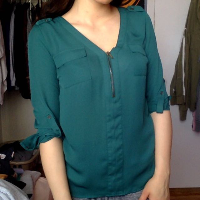 Blue/Green Women's Work Top