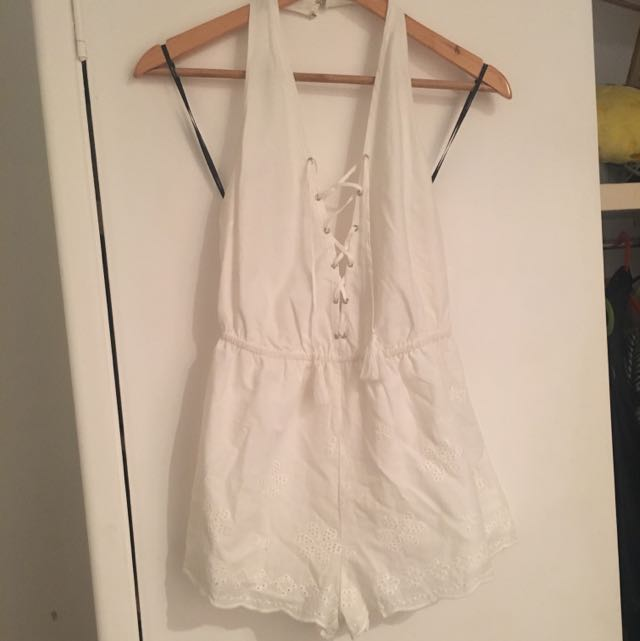 SALE:: BNWT White Lace up Playsuit