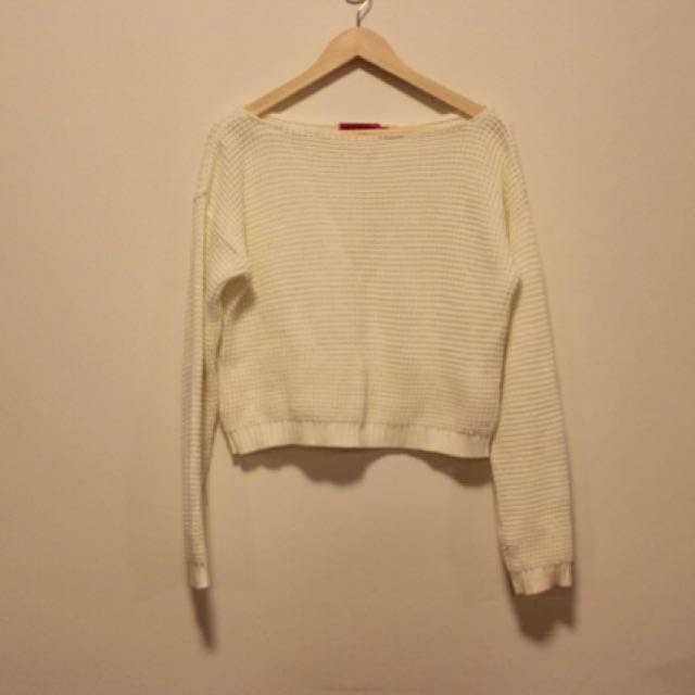 Boohoo Cropped Waffle Knit Jumper in Cream/ White Size S M 10 12