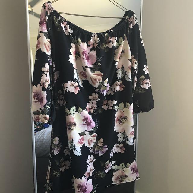 Boohoo Floral Shoulder Dress