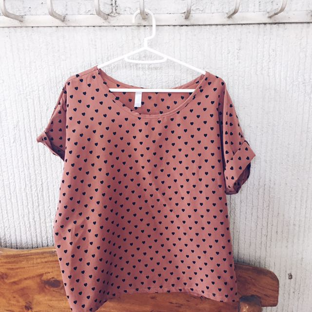 Brown Polka Heart Top