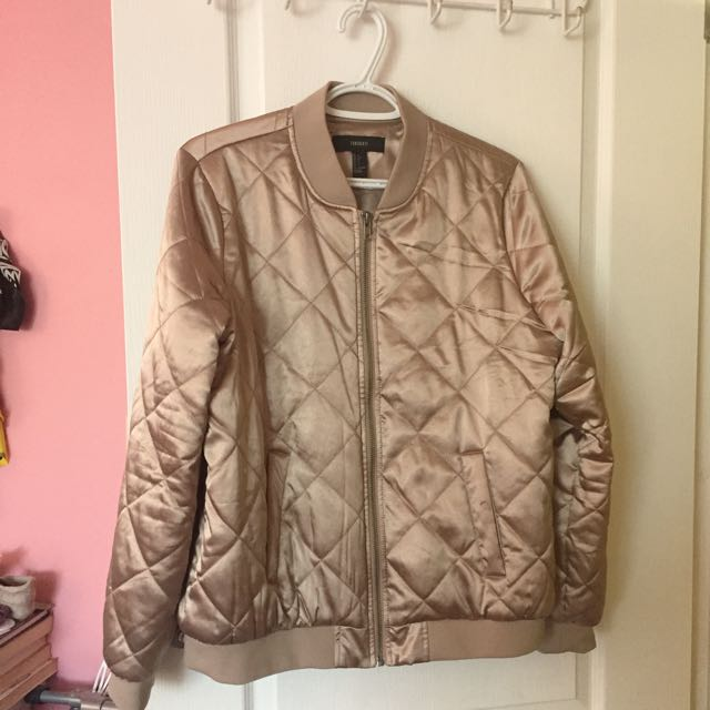 Champagne Coloured Quilted Bomber