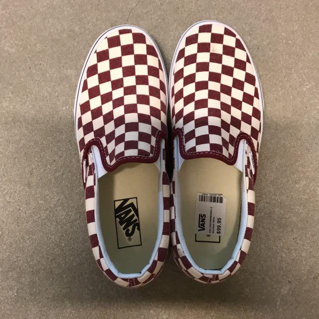 Checkered Vans Slip Ons