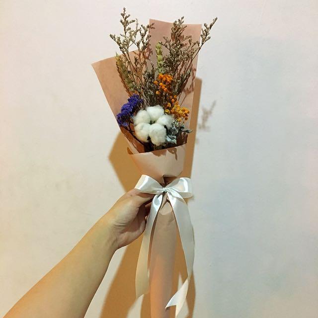 Cotton Flower Dried Flower Bouquet in Korean Baguette / Birthday ...