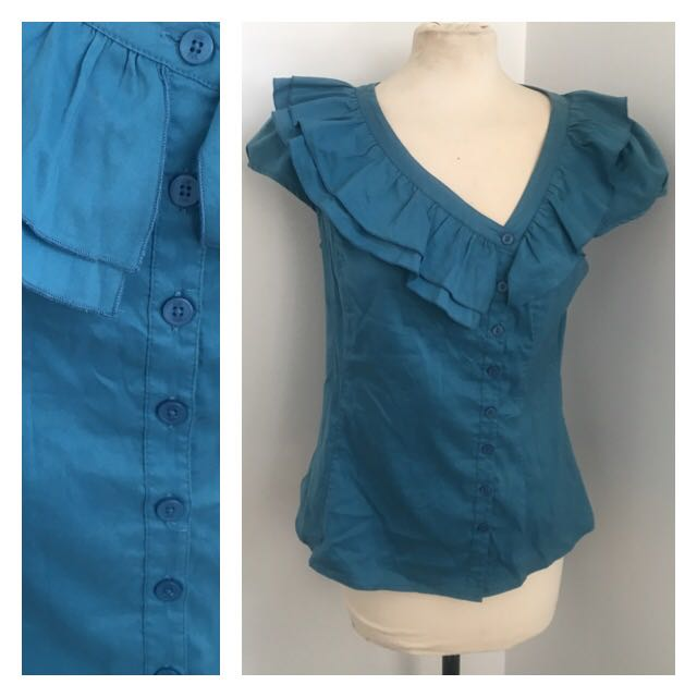 Cue Turquoise Blouse (size 12)
