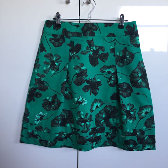 David Lawrence Green Floral Skirt