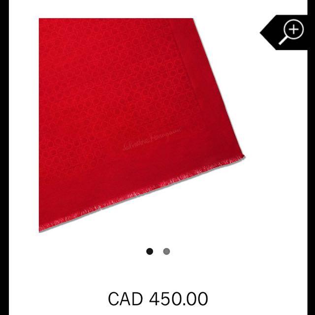 Ferragamo Medium Scarf - Red & Gold