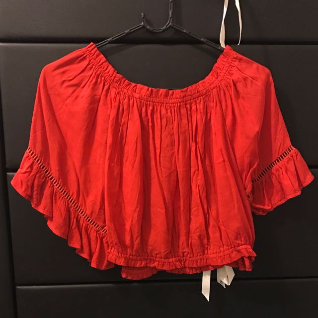 Flared, Cropped Red Top
