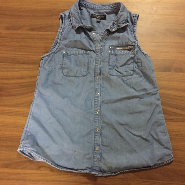 Forever New Denim Sleeveless Shirt Size 8
