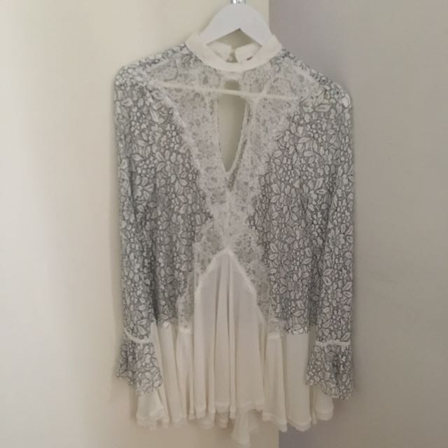 Free People Tell Tale Lace Tunic Size Small
