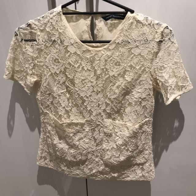FRENCH CONNECTION Cream Lace Top Size 8 S