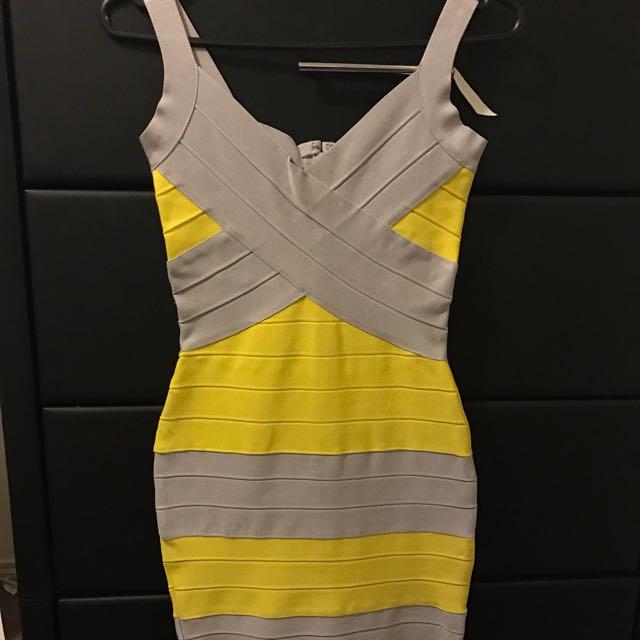 Grey & Yellow Bandage Dress