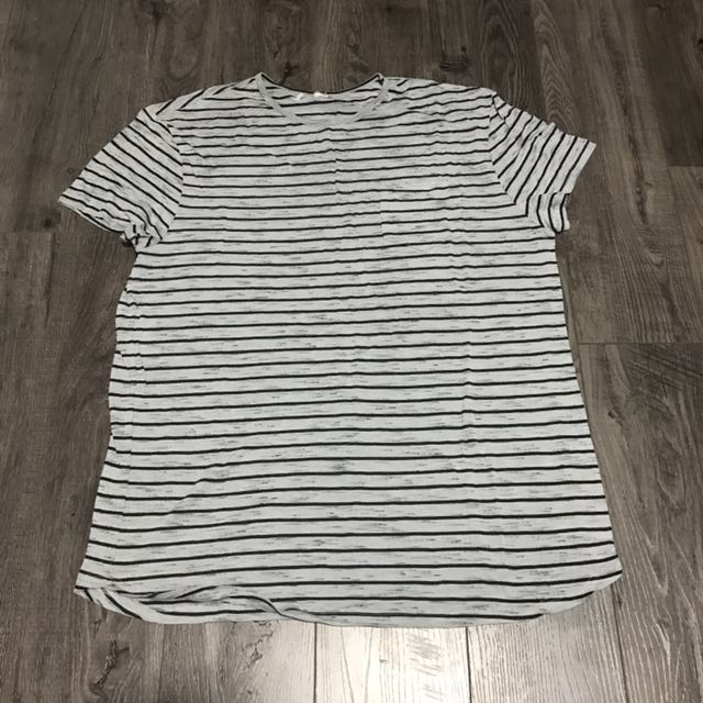 Grey Striped Tee Shirt Top