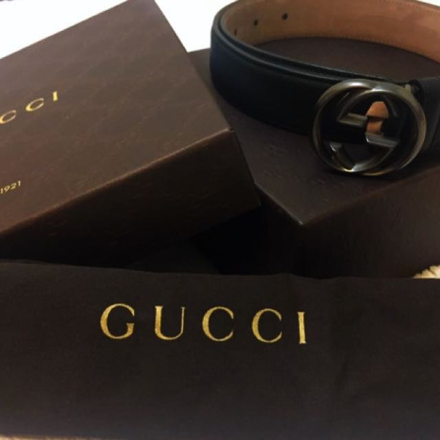 【正品】Gucci經典男士真皮皮帶(黑)