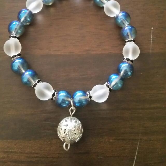 Handmade Glass Bead Bracelet With Charm