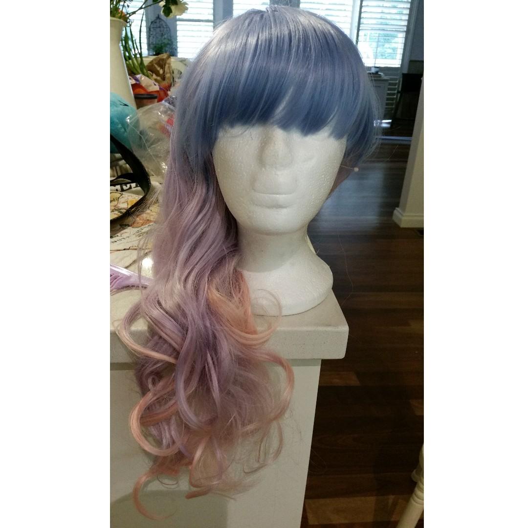 Harajuku Lolita Cosplay blue pink wig