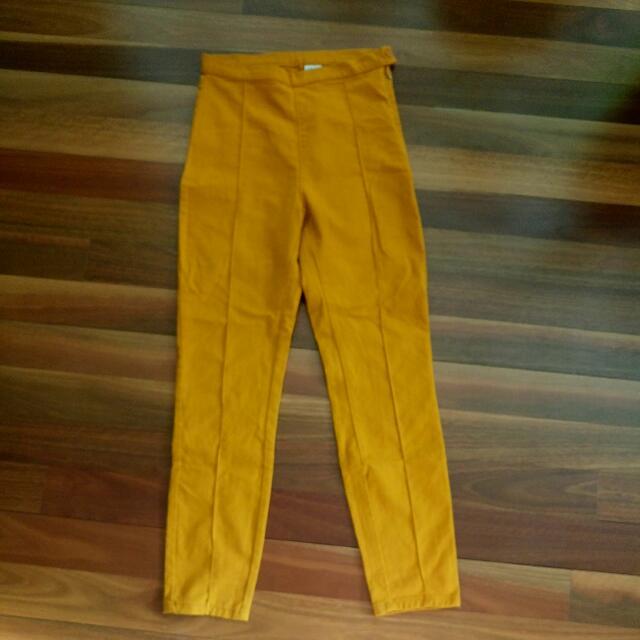 High-Waisted Monki Mustard Pants