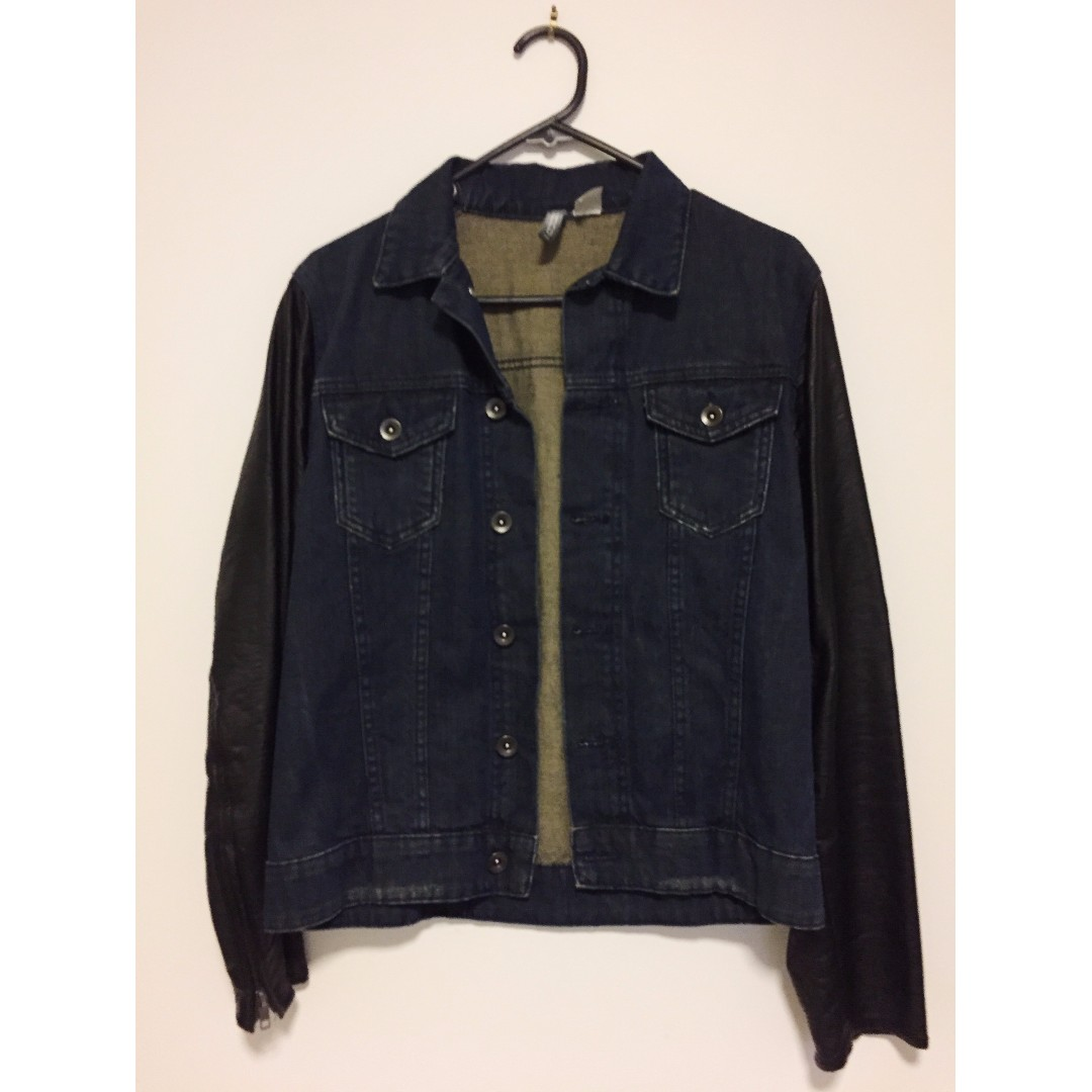 HnM Denim Jacket with leather sleeves Size S