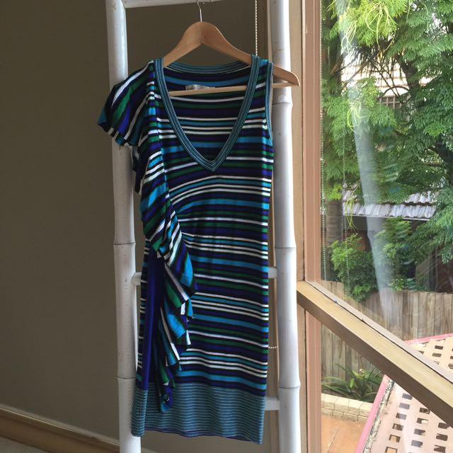 Karwn Millen Striped Bodycon Knit Dress Size 1 AU8 S