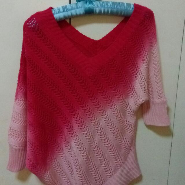Knitted Pink Poncho