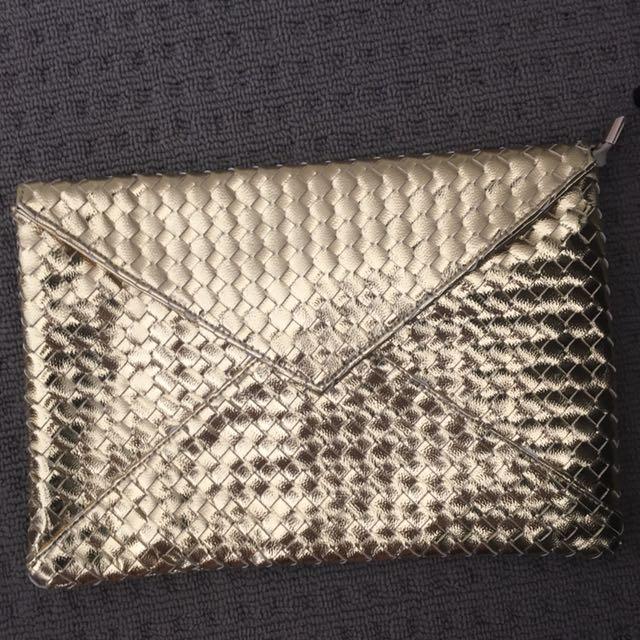 Large Gold Envelope Clutch