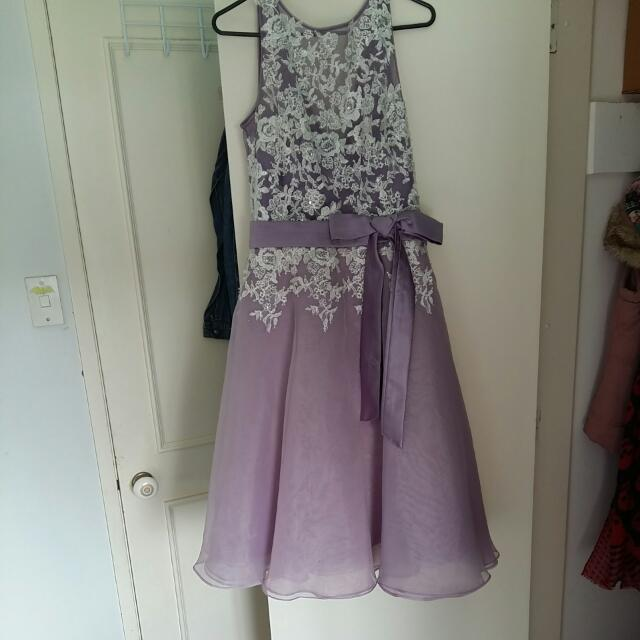 Lilac Tea Length Ball Dress