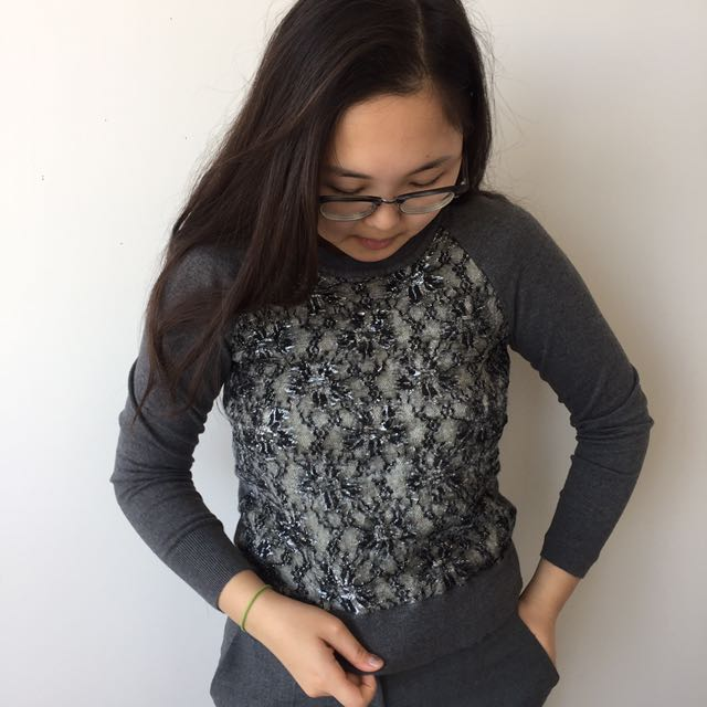 Loft grey lace sweater