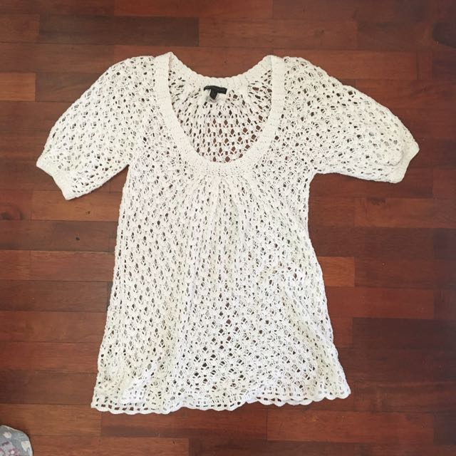 Mango Knitwear Crochet Blouse/Layer (Terusan)