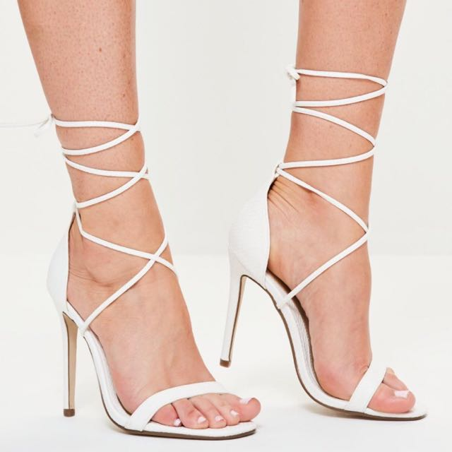 Missguided White Open Toe Heels