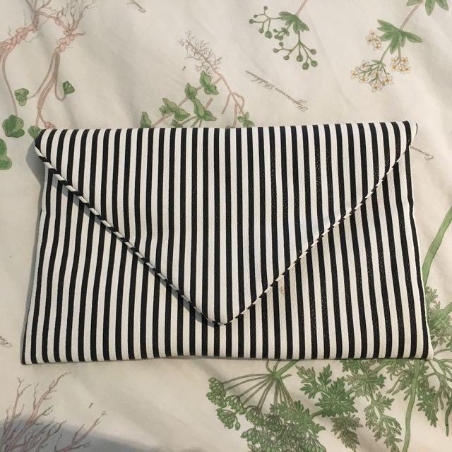 Mocha Leather Clutch Bag