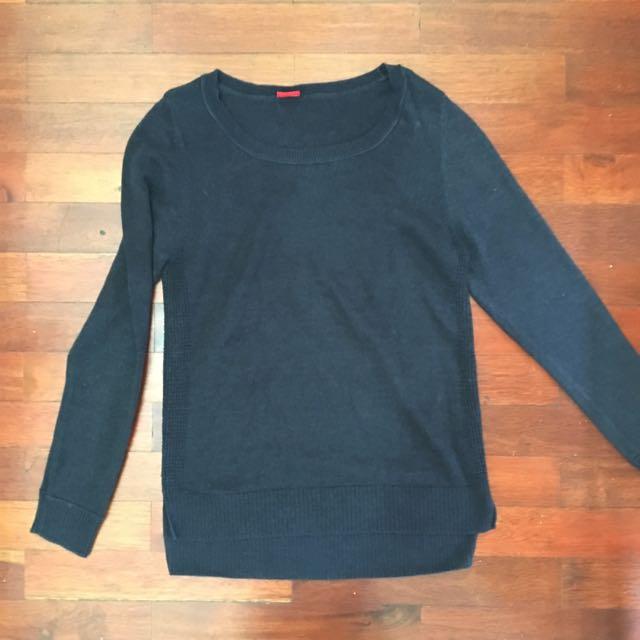 Navy Blue Oversized Knit Sweater