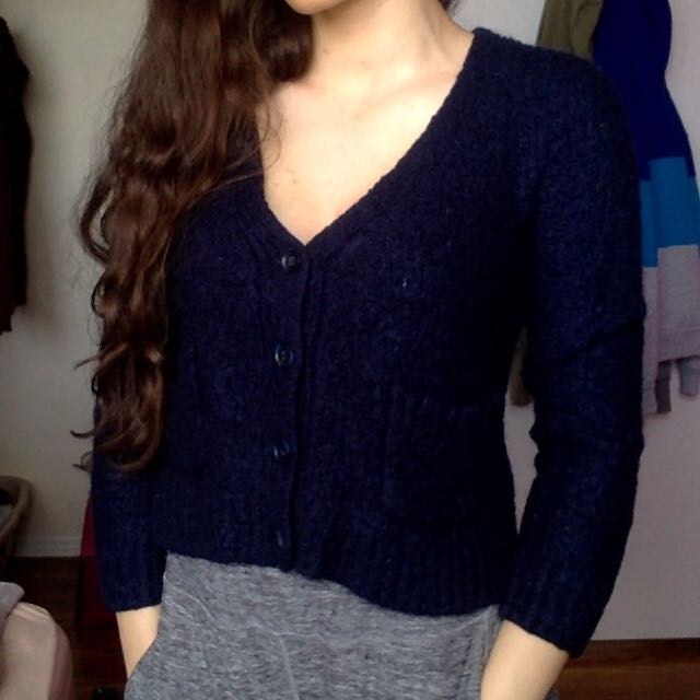Navy Blue Wool Sweater