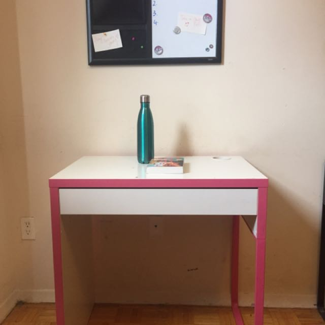 Pink And White IKEA Study Table