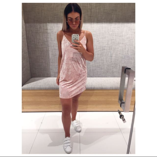 Pink Velvet Slip Dress