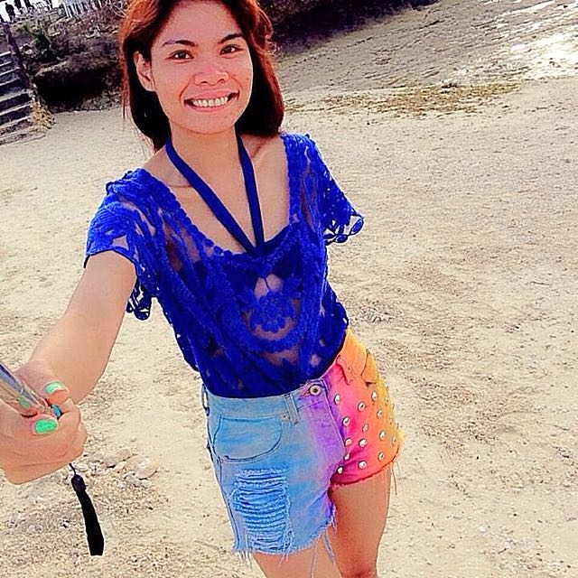 Rainbow Shorts And Blue Lace Cover Up