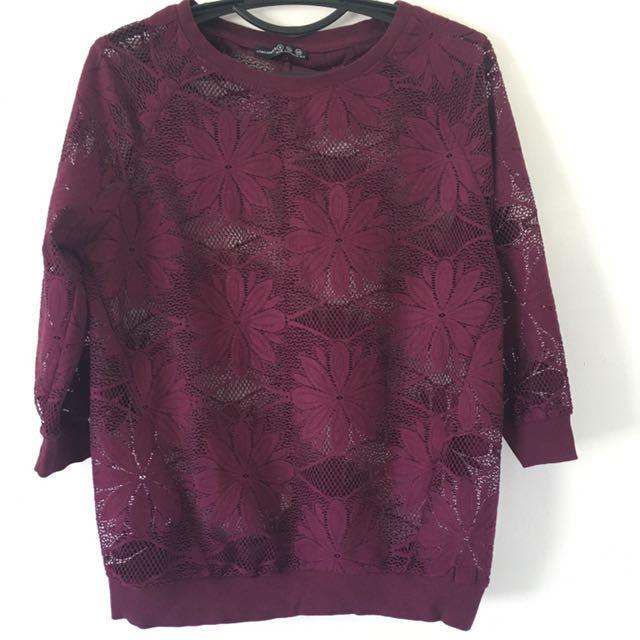 See- through 3/4 blouse
