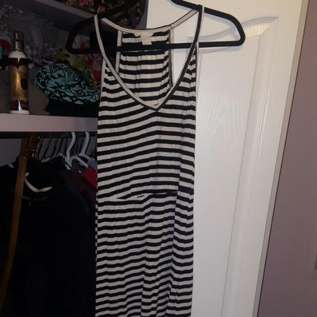 Short Black And White Striped Summer Dress