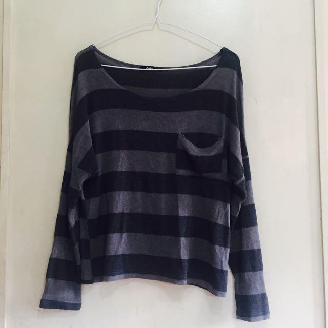 Striped Black & Gray Pullover