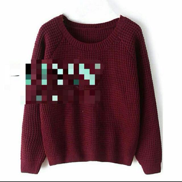 Sweater Knit Maroon