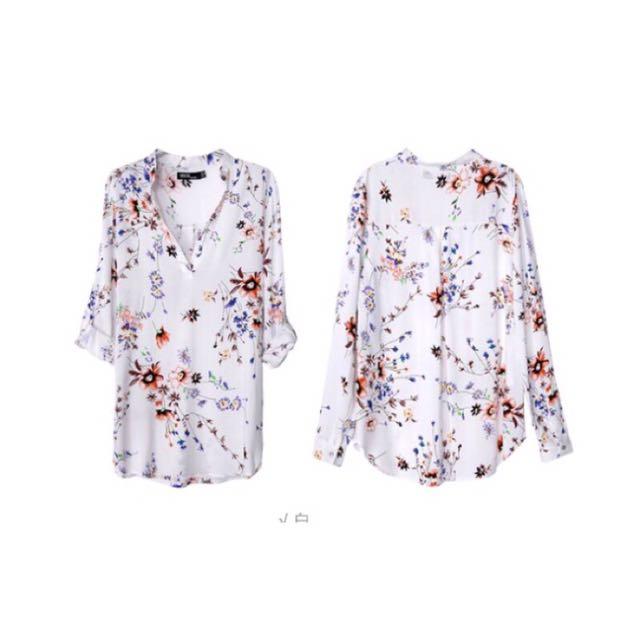 歐美原單V領花卉質感襯衫