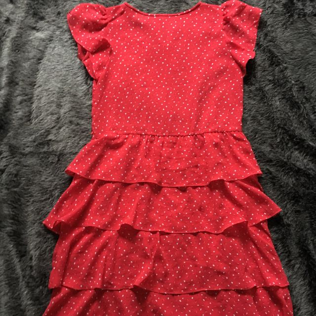 Vintage 1970s Red Ruffled Layer Dress