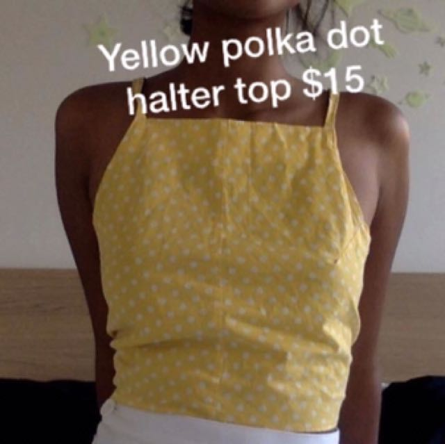 Vintage Yellow Polka Dot Halter Top