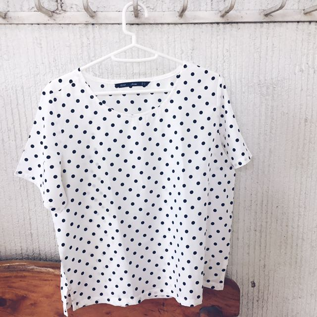 Forme White and Black Polka Dot Top