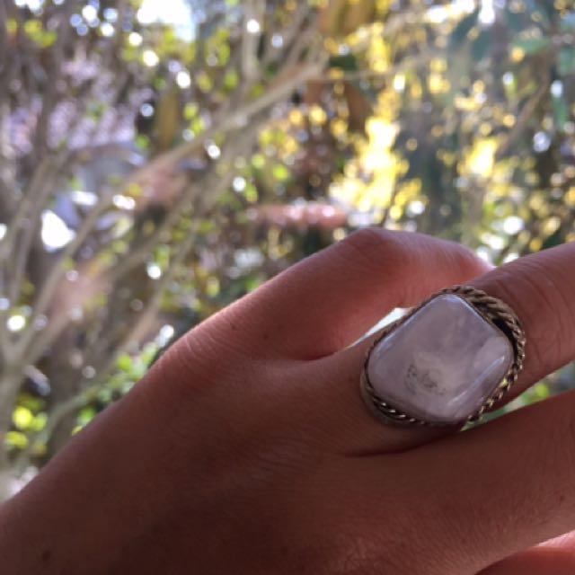 White Boho quartz crystal Handmade Ring