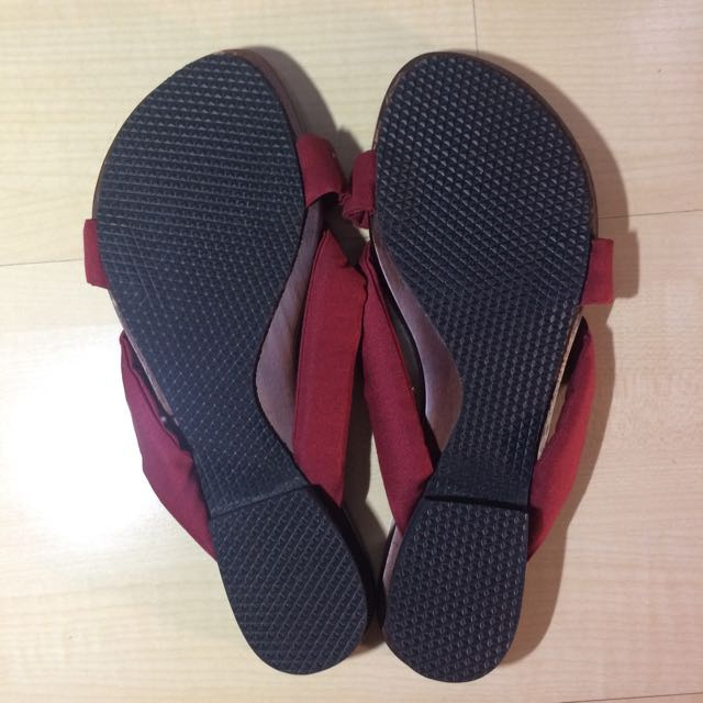 Wood Flip Flop With Red Ribbon