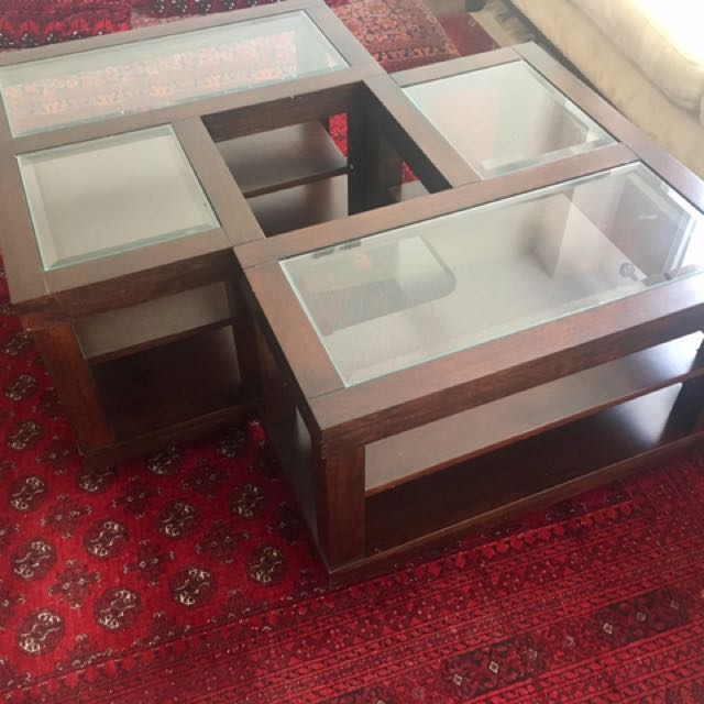 Wooden Frame Glass Top Coffee Table