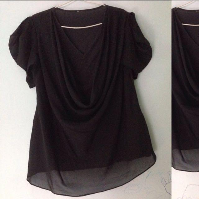 XSML_drapery black blouse